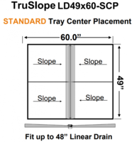 49 x 60 Center Standard Tray Linear Drain Shower Kit
