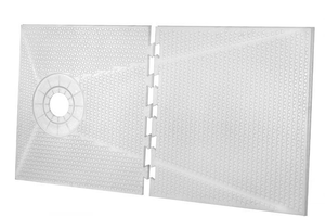 32 x 60 Offset Standard Tray Shower Kit with 4 Center Drain