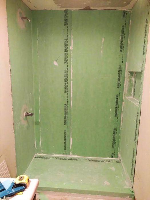 Green Trugard Waterproofing Installed in a Waterproof Shower