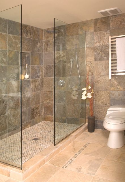 Open Showers Home Design - Open shower designs pictures