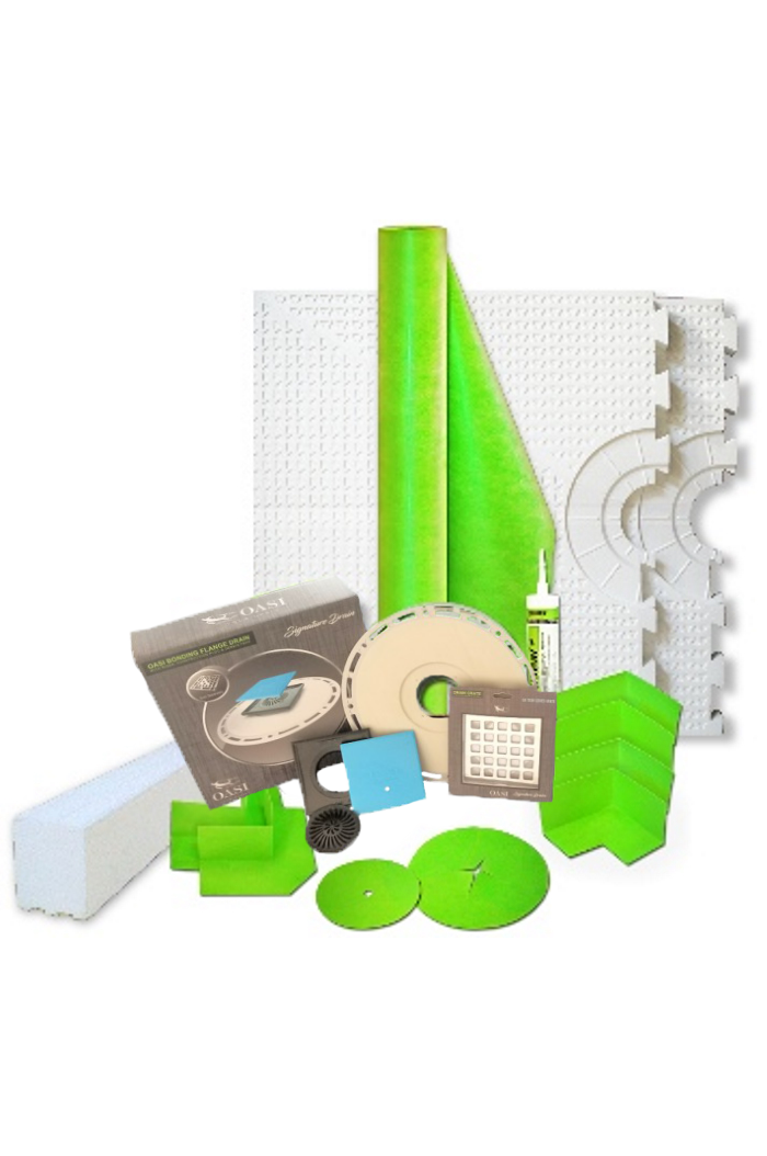 "56"" x 60"" Center Drain Placement Shower Kit with 165 Sqft Roll, 60"" Shower Curb, Corners, Sealant, 4'' Square Drain Kit with Flange, and Drain Grate Included"