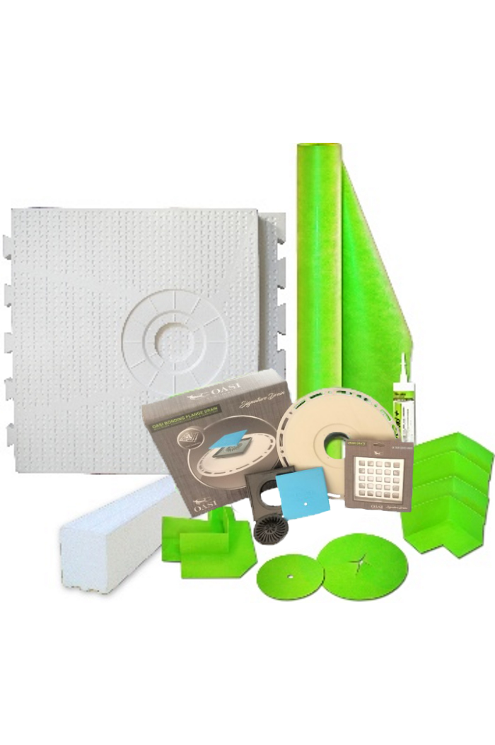 "56"" x 60"" Offset Drain Placement Shower Kit with 165 Sqft Roll, 60"" Shower Curb, Corners, Sealant, 4'' Square Drain Kit with Flange, and Drain Grate Included"