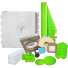 "32"" x 60"" Offset Drain Placement Shower Kit with 110 Sqft Roll, 60"" Shower Curb, Corners, Sealant, 4'' Square Drain Kit with Flange, and Drain Grate Included"